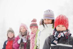 Children in winter snow